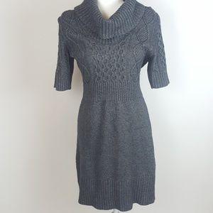 Ann Taylor Loft Gray Cowl Neck Cable Sweater Dress